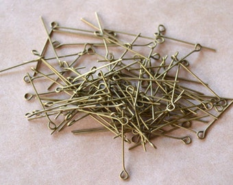 100pcs 1 Inches Eyepins Antiqued Gold-Plated Brass 24 Gauge