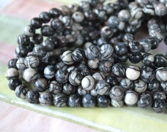 50pcs 8mm Black Silk Stone Natural Gemstone Beads 16in Strand
