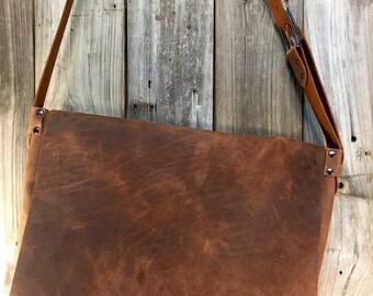 Large Bison Leather Messenger Bag
