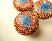 Cabinet Knobs Pulls drawer knobs 8 unique handmade knobs Polymer Clay  Knobs  blue red yellow  decorative bathroom cabinet knobs METAL