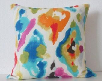 Watercolor Jewelscape motif colorful decorative pillow cover