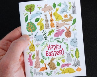 Spring Pastel Rabbits Hoppy Easter Card