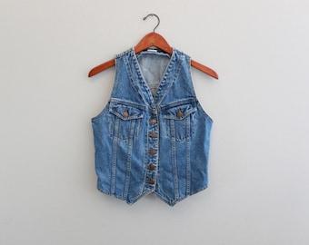 Vintage 90s Jean Vest By Jordache