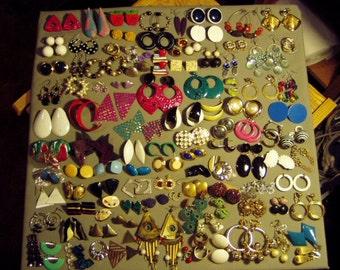 Vintage Lot 91 Pairs Pierced Earrings 7 Pairs Screw Backs & 12 Pairs Clip Earrings 8672