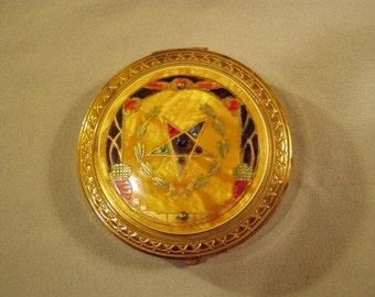 Vintage Ladies Powder Compact With Inlaid Material & Enamel Decoration Gainsborough  8759