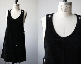 Vintage Black Velveteen Jumper Dress Pinafore Cotton Velvet 90s Grunge Mini S