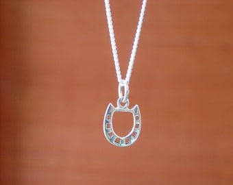 Equestrian Horseshoe Charm Pendant with Chain