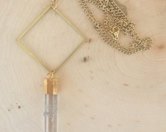 Crystal pillar necklace, gold electroplate edge