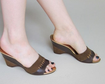 Vintage 1940s Wedge Mules in Suede and Leather / 40s Slip On Wedges in Tan and Brown / 7 1/2