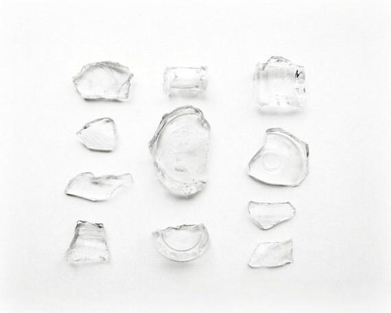 Black And White Photography Broken Vintage Glass Minimalist Home Decor 10x8 Print Fragments...