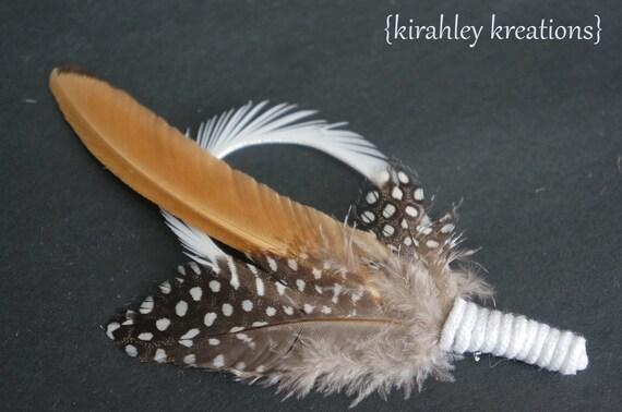 RUST -- Rustic Woodland Guinea Duck Hunter Feather Twine Wedding Groom Groomsmen Keepsake Boutonniere in White Caramel Tan SHIP READY