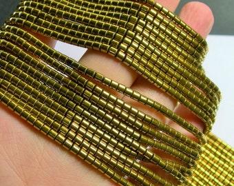 Hematite Gold - 3mm tube beads - 1 full strand - 133 beads - AA quality - 3mmx3mm - PHG214