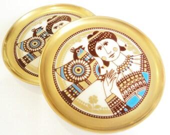 Pair Mosa Mid Century Pin Trays... Gold Blue Trinket Dish... Franklin Mint