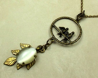 Bird Cats Eye Necklace, Long Dangled Pendant, Antiqued Brass and Gold