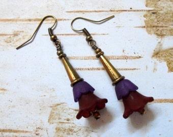 Burgundy, Purple and Brass Flower Earrings (2961)