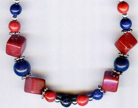 Mens / Unisex Red Turquoise & Deep Blue Lapis Lazuli Beaded Necklace