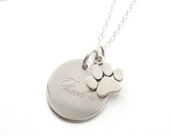 Pet Memorial Paw Necklace Silver Engraved Name and Date Necklace Personalized 1/2 inch Disc Handmade Engraved Custom made Pendant