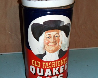 Vintage Old Fashioned Quaker Oats Tin Metal Canister 1982