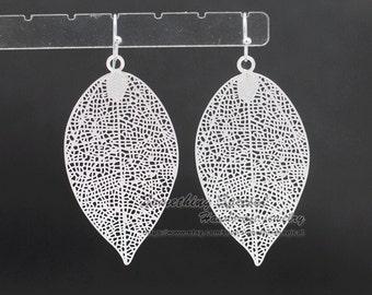 SALE- Silver Leaf Earrings silver filigree leaf earrings Tree leaf vein earrings woodland Natural jewelry dangle drop earrings Gift for her
