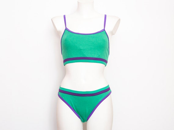 90s bikini NOS Vintage green purpIe ribed cotton