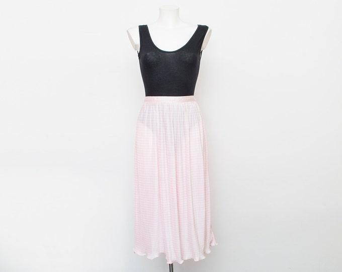 long skirt Deadstock vintage pleated pink sheer
