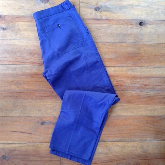 Ähnliche Artikel wie Französische Arbeiter Jahrgang indigo blau Hose ...