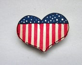 Heart Shaped Magnet, Patriotic Magnet, Americana, Magnets, Tole or Hand Painted Magnets, House Warming gift, Hostess Gift, Red, White, Blue