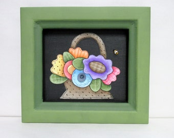 Colorful Posies or Flowers in a Basket, Reclaimed Wood Green Frame, Tole Painted on Black Screen with Acrylic Paint, Primitive Folk Art