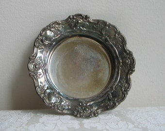 Vintage Towle Silverplate Bowl Dish 4079 Old Master, Decorative Embossed Silver Metal Roses Scrolls