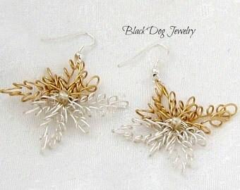 Wire Starburst Earrings - Wire Snowflake Earrings - Wire Spiral Earrings - Starburst Earrings - Wire Wrap Jewelry - Star Jewelry