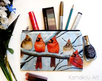Red Bird Cardinals bag | Winter Wonderland Wildlife | Cosmetics, DS, tarot deck case, candle bag and Travel | 8x5 Small Pouch with Zipper
