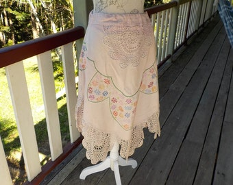 "country flowers skirt, embroidery & crochet - bohemian and romantic , up to 34"" waist"