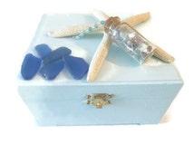 Prayer Box, Surrender Boxes, Wishing Box, Tropical Beach Theme, Sea Glass, Starfish Trinket Box, Charging & Manifesting Box, Free Shipping