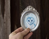 Watercolor Barn Owl Art and Silver Frame - Valentines Love One of a Kind