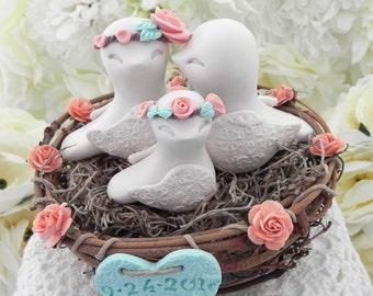 Rustic Family Love Birds, Wedding Cake Topper, Beige, Peach, Mint Green,  Love Birds in Nest , Personalized Heart