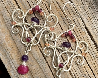 ON SALE Sterling Silver, Ruby, Amethyst, Garnet, and Orange Sapphire Chandelier Lotus Earrings
