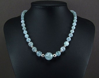 Aquamarine Sterling Silver Necklace - N871A