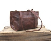 Tote Tooled Southwestern Brown Tan Leather Shopper Bag