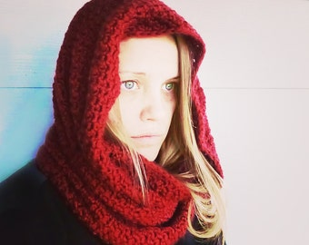 Scarlet Infinity Scarf { Red Riding } Hooded Cowl