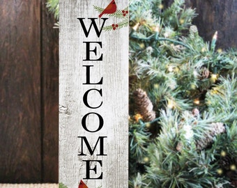 Winter Welcome Sign with Cardinals, Winter Wall Decor, Welcome Sign