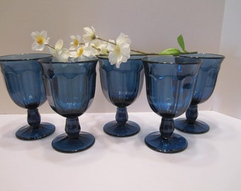Cobalt Blue Stemmed Water Goblets - Mid-Century Pedestal Drinking Glasses - Provincial Design - Noritake of Japan - Set of 5