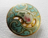 Antique Pierced Enamel Button Art Nouveau