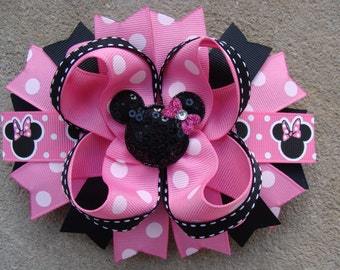 Minnie Mouse Hair Bow-Large Hair bow - Pink and Black Minnie Mouse Hair Bow Rhinestone necklace