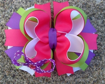 Boutique Hair Bow large hair bow pink purple green hair bow to match a dress pink and green hair bow purple hair bow