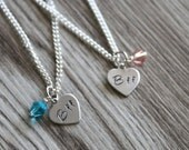 Best Friends Personalized Necklace, Heart Necklace, Birthstone Glass Bead, Hand Stamped Bff, Bff gift, Best Friend Forever Gift Set Jewelry