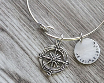 Coordinate Bracelet Bangle, Custom Coordinate Bangle, Compass Bangle Personalized Gift, Travel, No Matter Where Bangle, Distance Friendship