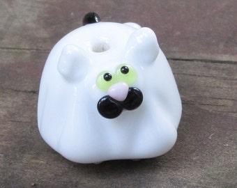 Halloween Ghost Fat Cat Kitten Lampwork Glass Homemade SRA Bead NLC Beads leteam