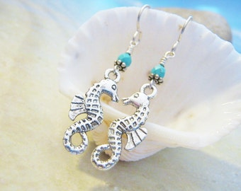 Seahorse Earrings, Silver, Seahorse Jewelry, Nautical Jewelry