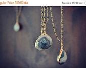 VALENTINES SALE MOSS  /// Gemstone Gold Electroformed Necklace