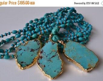 XMAS IN JULY Aqua Mala  /// Turquoise Necklace